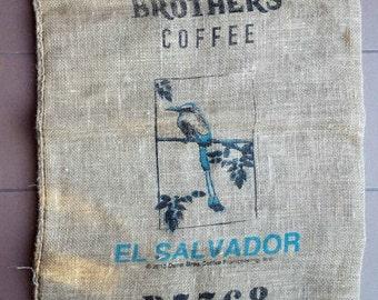 El Salvador Burlap Coffee Bag - Blue Bird Screenprint - Coffee Wall Art Hanging - Craft Fabric KingFisher Bird