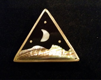 Abalone Inlay Brooch, Triangle, Triangular Brooch, Pendant