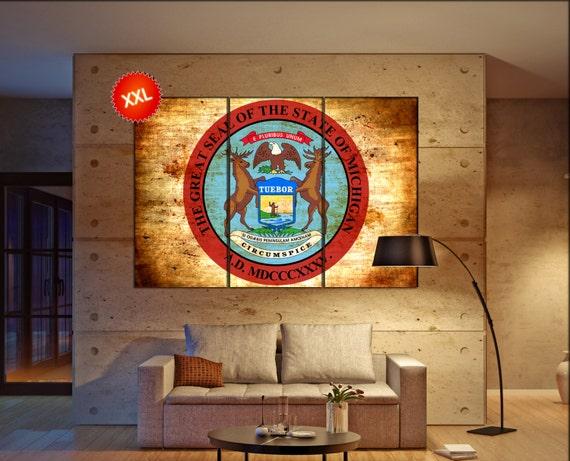 michigan seal flag  canvas michigan seal flag wall decoration michigan seal flag canvas art michigan seal flag large canvas
