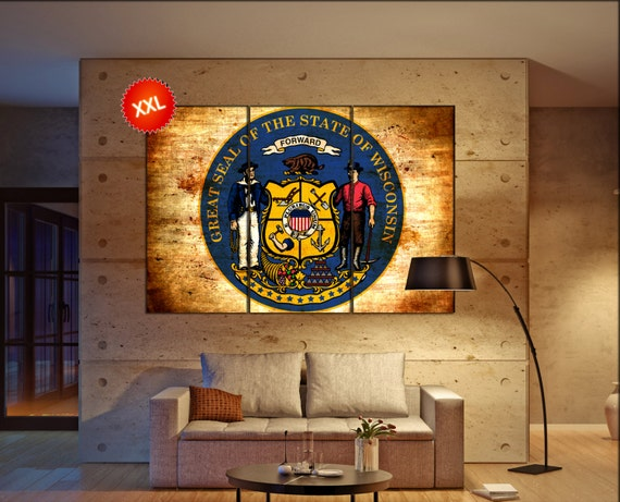 wisconsin seal flag  canvas wisconsin seal flag wall decoration wisconsin seal flag canvas art wisconsin seal flag large canvas