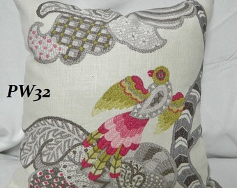 P. Kaufmann  Decorative Bird Pattern Throw Pillow Cover, Accent Pillow  / Both Sides / Linen / 16 x 16