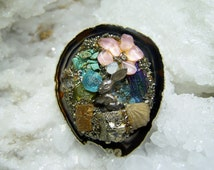 Gemstone Collage Pendant Brooch, Multi Colored Gem Stones w Silver Bunny Rabbit, Earth Jewelry, Reiki Cleansed Attuned, Spiritual Energy