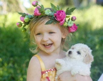 Baby flower crown headband, Girl flower crown, headband, baby headband, flower headband, boho flower girl, flower girl, Toddler flower crown