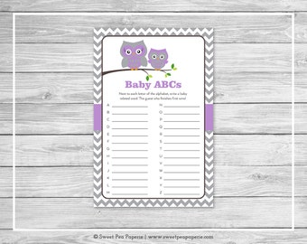 Owl Baby Shower Baby ABCs Game - Printable Baby Shower Baby ABCs Game - Purple Owl Baby Shower - Baby ABCs Game - Owl Shower Game - SP136
