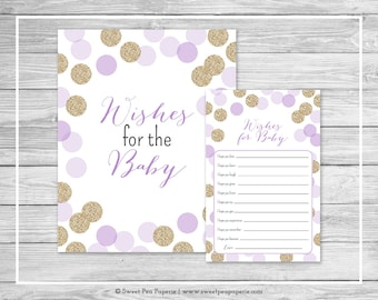 Purple and Gold Baby Shower Wishes for Baby Cards - Printable Baby Shower Wishes for Baby Cards - Purple and Gold Glitter Baby Shower- SP109