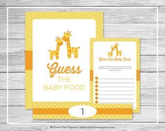 Giraffe Baby Shower Guess The Baby Food Game - Printable Baby Shower Guess Baby Food Game - Yellow Giraffe Baby Shower - SP131