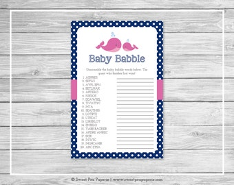 Whale Baby Shower Baby Babble Game - Printable Baby Shower Baby Babble Game - Pink Whale Baby Shower - Baby Word Scramble - SP128