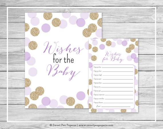 purple and gold baby shower wishes for baby cards printable baby