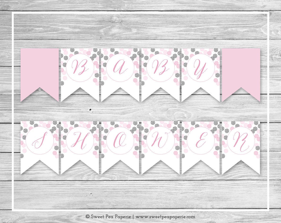 pink and silver baby shower banner printable baby shower