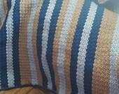 Handmade light blue,dark blue, grey crochet baby blanket. Baby crochet blanket.Blue crochet baby blanket.Blue baby boy blanket.FREE SHIPPING