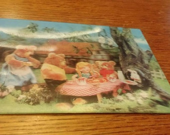 Goldilocks and the Three Bears 3D postcard 1966