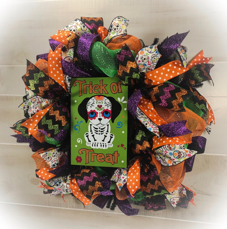 Halloween Dog Wreath, Halloween Wreaths, Day of the Dead ...