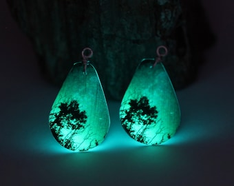 Wear the Andromeda Galaxy on your ears!   Glow-In-The-Dark astronomy photograph earrings with the milky way and northern lights  - B11