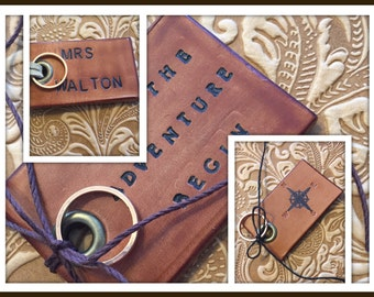 Personalized, Custom Made USA Leather, Hand Stamped Luggage Tag. Customized Leather Luggage Tag; Wedding Ring Bearer Alternative; Adventure.