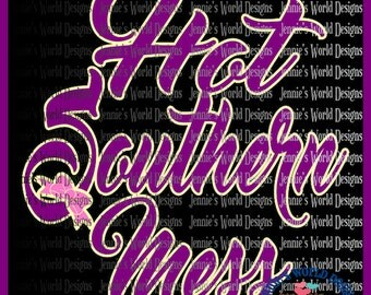 Hot Southern Mess - Bow - script- SVG Cut File