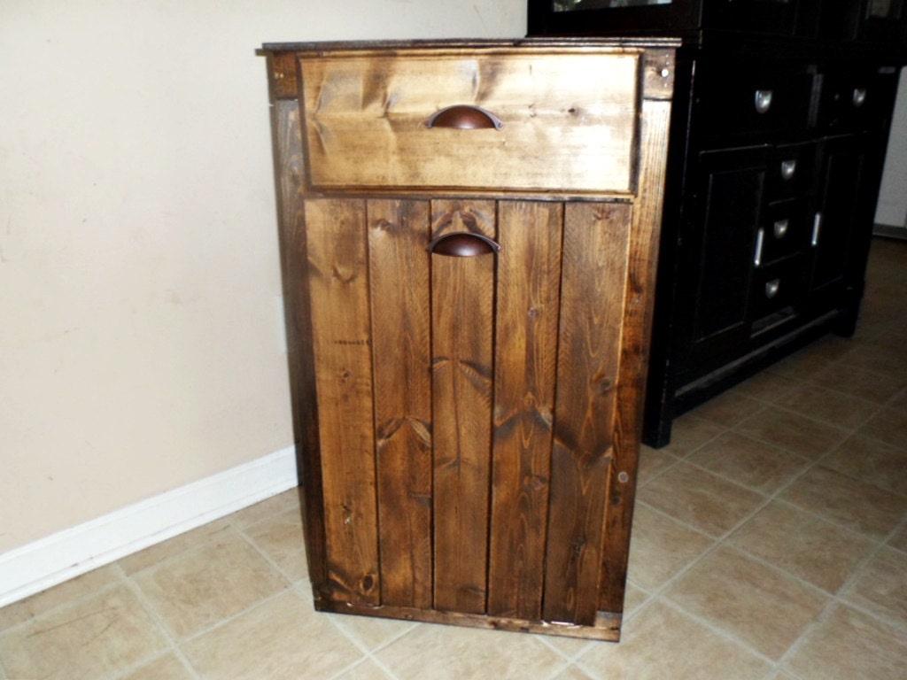 13 gallon tilt out wood trash can holder with drawer trash. Black Bedroom Furniture Sets. Home Design Ideas