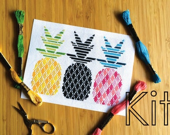 Cross stitch kit, modern cross stitch kit, #etsygifts, counted cross stitch kit, cross stitch mini kit, electric pineapples