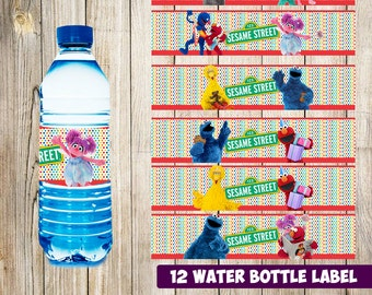 12 Sesame Street Water Bottle Label instant download, Printable Sesame Street Water Bottle Label, Sesame Street Water Label