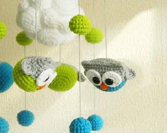 Baby mobile owl Crib mobile owl  Baby mobile Bedroom decor Owl mobile Cloud mobile Owl nursery Baby felt mobile Nursery decor owl