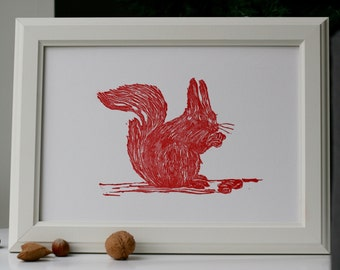 Red Squirrel Lino Art Print