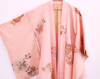 Vintage METALLIC EMBROIDERED floral print silk bohemian 70s haori kimono jacket