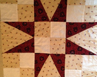 17.5 inch Star QUILT BLOCK.  Red, Roses