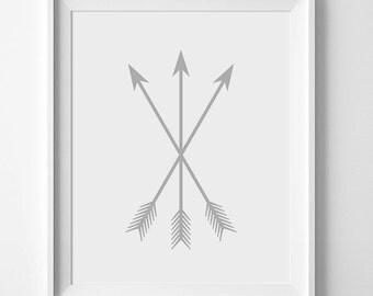 Grey Wall Art, Grey Arrows, Tribal Nursery Decor, Tribal Wall Art, Tribal Nursery Art, Wall Print, Arrows, Tribal Nursery Print, Gray Arrow