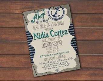 Ahoy it's a Boy! Baby Shower Nautical Theme Invite *DIGITAL FILE* (.jpg or PDF)