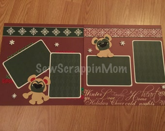 12x12 Premade Christmas Scrapbook 2 Page Layout