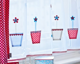 Kids voile curtain with hand made apllications of  Flower Pots,