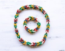 rubber necklace rubber bracelet Set Jewelry whimsical jewelry Woven & Braided Bracelets rubber bands jewelry multicolor jewelry style