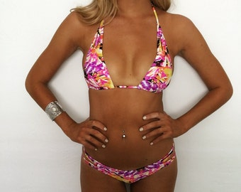 "Small ""Malibu"" Neon Tribal Strappy Low Rise Brazilian Ruched Bikini Set"