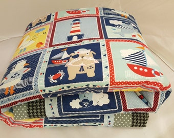 Baby Blanket - Baby Comforter - Baby Quilts - Toddler Blanket - Toddler Comforter - Toddler Quilts - Light House Sailor Friends *R10*