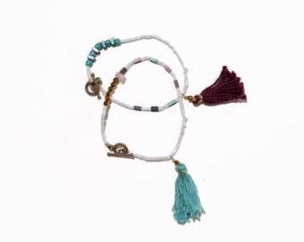 One-of-a-kind beaded tassel bracelet - turquoise/maroon set of two