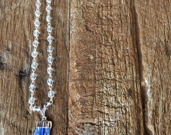 Clear Quartz and Silver Beaded Necklace with Raw Blue Kyanite Pendant