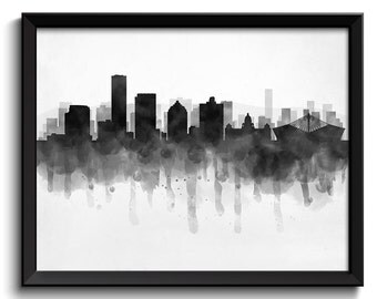 Durban Skyline South Africa Cityscape Art Print Poster Black White Grey Watercolor Painting