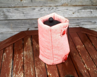 French Press Coffee Tea Pot Cozy Warmer, Coffee Tea Pot Cover, Cotton Warmer, White Red Plaid