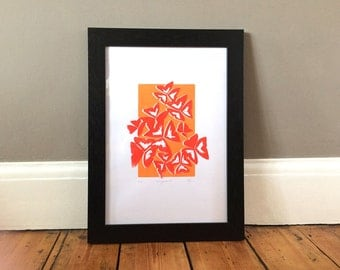 Original, hand pulled, A3 screen print 'Triangularis' - leafy, nature, pattern print in bold colour