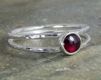 Garnet Sterling silver ring, Dainty thin band hammered ring with red gemstone - available with many stones