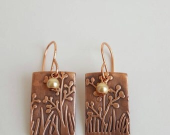 Rectangle earrings, copper earrings, geometrical shape earrings