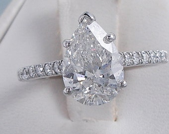 Beautiful 2.25 ctw Pear Shape Diamond Engagement Ring with a 2.03 G Color/SI2 Clarity Enhanced Center Diamond