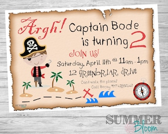 Pirate Themed Birthday Party Invitation
