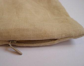 Natural Linen Pillow case with an invisible zipper, Zippered Eco flax pillow case, All sizes: Standard, Queen, King, Euro, Body pillows