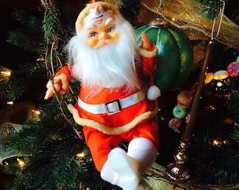 Rubber Santa Claus, Vintage Santa Figurine, Midcentury Christmas, 40s Santa