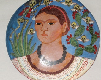 Mexican Folk Art, Frida Kahlo Painted Wall Plaque - Day of the Dead, 12""