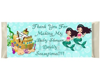 Mermaids Twins Baby Shower 43g or 1.55 oz Full Size Candy Bar Labels  - Contact me for if you need a different size candy bar