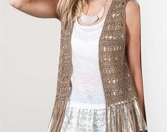 See You at the Ranch Crochet Fringe Vest
