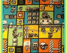 Super Mario World on a Colorful Flannel Fabric - Mario, Bowser, Thwomp and More - By the Fat Quarter Half-Yard or Yard