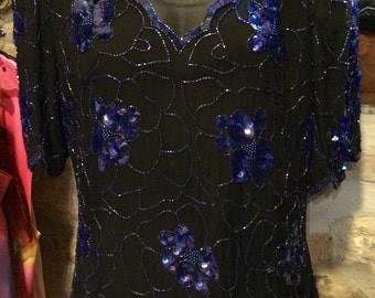 1990's sequined, beaded silk evening top, huge shoulder pads. Size XL.