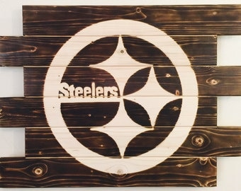 Pittsburgh Steelers football man cave wood sign